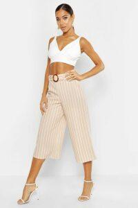 Womens Tonal Stripe Belted Wide Leg Culottes - beige - 16, Beige