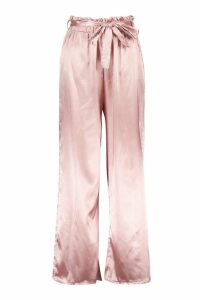 Womens Paper Bag Wide Leg Belted Trousers - pink - 10, Pink