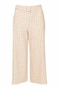 Womens Belted Gingham Check Culottes - pink - 12, Pink