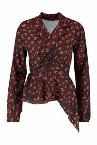 Womens Leopard Print Tie Wrap Ruffle Long Sleeve Blouse - brown - 8, Brown