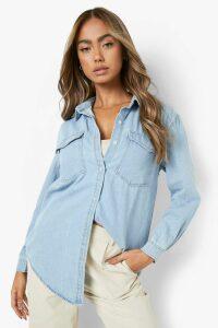 Womens Oversize Bleach Wash Denim Shirt - blue - 14, Blue