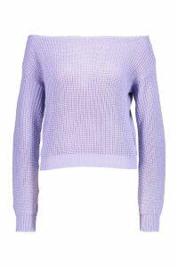 Womens Crop Slash Neck Fisherman Jumper - purple - M/L, Purple