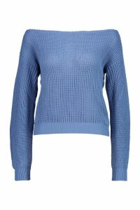 Womens Crop Slash Neck Fisherman Jumper - blue - M/L, Blue