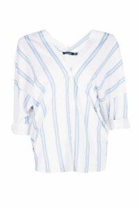 Womens Striped Button Through Collarless Shirt - blue - 10, Blue