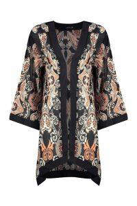 Womens Tonal Paisley Chiffon Kimono - multi - 16, Multi