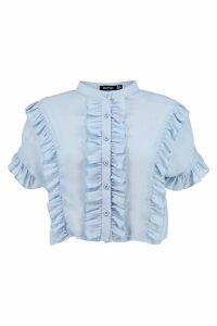 Womens Ruffle Short Sleeved Shirt - blue - 6, Blue