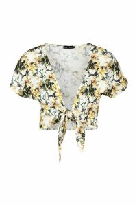 Womens Floral Tie Front Top - yellow - 10, Yellow