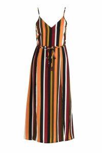 Womens Split Front Striped Midaxi Dress - Orange - 16, Orange