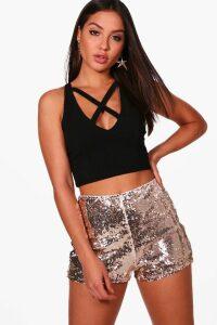 Womens All Over Sequin High Waisted Hottrousers - metallics - 14, Metallics
