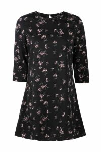 Womens Floral Printed Shift Dress - black - 16, Black
