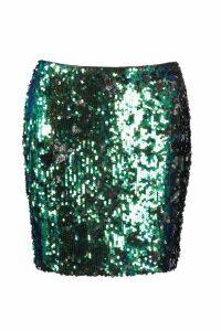 Womens All Over Sequin Mini Skirt - green - 10, Green