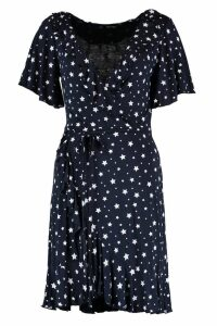 Womens Star Wrap Tea Dress - navy - 14, Navy