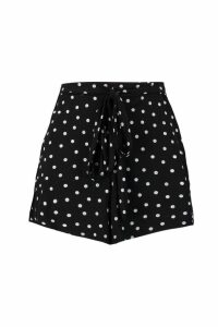 Womens Polka Dot Flippy Tie Belt Shorts - black - 8, Black