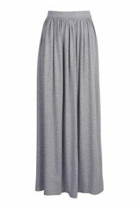 Womens Basic Floor Sweeping Jersey Maxi Skirt - grey - 16, Grey