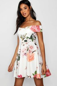 Womens Floral Print Off Shoulder Skater Dress - multi - 8, Multi