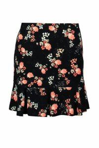Womens Floral Drop Hem Mini Skirt - black - 10, Black