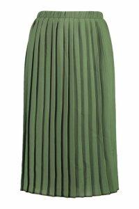 Womens Crepe Pleated Midi Skirt - green - 12, Green