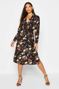 Womens Floral Printed Maxi Shirt Dress - black - 16, Black