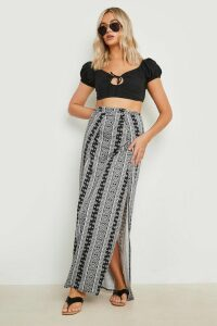 Womens Monochrome Thigh High Split Maxi Skirt - multi - 14, Multi