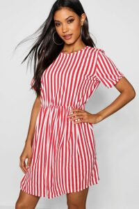 Womens Striped Gathered Waist Smock Dress - 8, Red