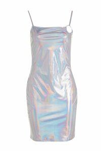 Womens Kaya Holographic O Ring Bodycon Dress - grey - 12, Grey