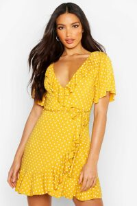 Womens Wrap Polka Dot Print Frill Detail Tea Dress - yellow - 16, Yellow
