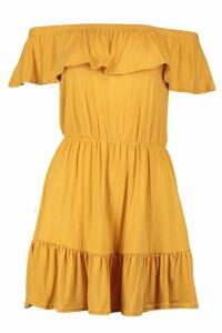 Womens Off The Shoulder Ruffle Skater Dress - yellow - 14, Yellow