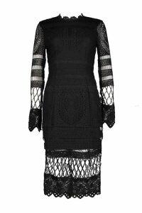 Womens Boutique Lace Panelled Midi Dress - black - 10, Black