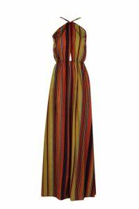 Womens Stripe Halter Cut Out Maxi Dress - brown - 14, Brown
