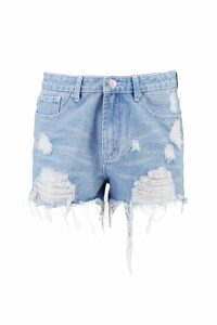Womens High Rise Distressed Denim Mom Shorts - blue - 14, Blue