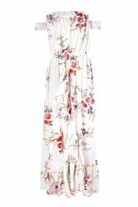 Womens Floral Off Shoulder Ruffle Wrap Maxi Dress - multi - 16, Multi