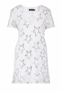 Womens Sequin Star Sheer Mesh Shift Dress - white - 12, White
