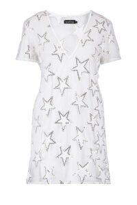 Womens Sequin Star Sheer Mesh Shift Dress - white - 16, White