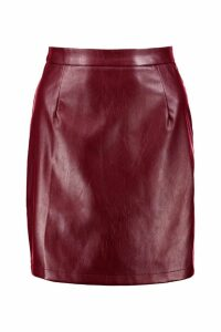 Womens Leather Look A Line Mini Skirt - red - 16, Red