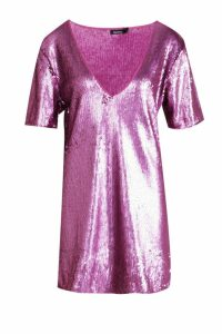 Womens Plunge Front All Over Sequin Shift Dress - purple - 16, Purple