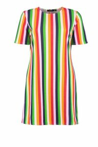 Womens Rainbow Stripe Short Sleeve Shift Dress - Green - 6, Green