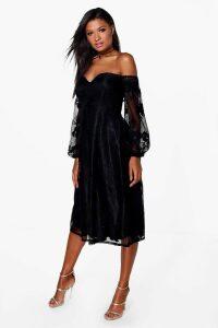 Womens Boutique Lace Bardot Long Sleeved Dress - black - 10, Black