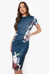 Womens Floral Pleat Detail Midi Dress - navy - 16, Navy