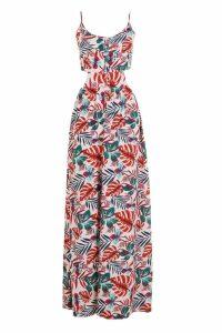 Womens Tropical Print Tie Back Cami Maxi Dress - multi - 14, Multi