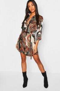 Womens Paisley Shirt Dress - multi - 16, Multi