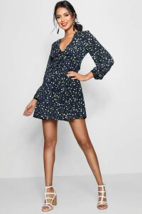 Womens Ruched Waist Floral Tea Dress - navy - 16, Navy