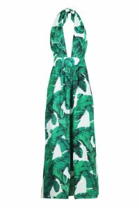 Womens Maggie Palm Print Plunge Halterneck Maxi Dress - white - 12, White