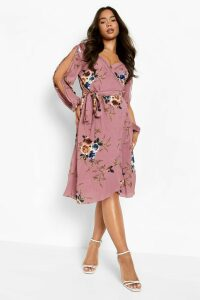 Womens Boutique Floral Split Sleeve Wrap Dress - Pink - 14, Pink