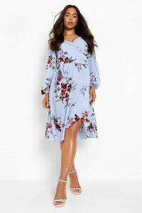 Womens Boutique Floral Split Sleeve Wrap Dress - blue - 10, Blue