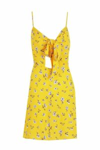 Womens Knot Front Woven Floral Skater Dress - yellow - 12, Yellow