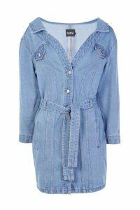 Womens Off The Shoulder Denim Shirt Dress - Blue - 16, Blue