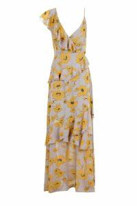 Womens Floral Ruffle Detail Maxi Dress - yellow - 14, Yellow
