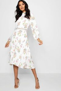 Womens Boutique Floral Long Sleeve Skater Dress - white - 14, White