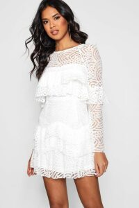 Womens Boutique Lace Ruffle Skater Dress - white - 16, White