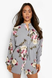 Womens Floral Shirt Dress - grey - 8, Grey